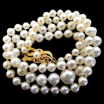 """Vintage 18K Mikimoto Cultured Pearls 18"""" long with 7.5 - 4.0mm Pearls!"""