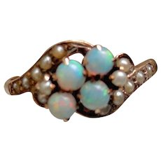 Reduced!  Allsopp Brothers 14K Opal & Seed Pearl Ring, Sz 8, approx. 1900!