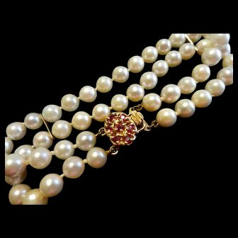 Reduced!  Estate 14K Double Strand Cultured Pearl Bracelet .21 Ct Ruby Clasp!