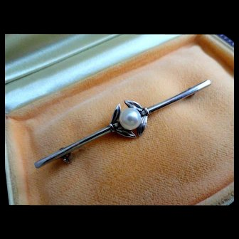Estate Mikimoto Sterling Cultured Pearl Brooch 6mm Pearl!