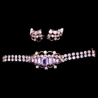 Rare Early Kramer  Demi Parure - Lavender Bracelet & Earrings
