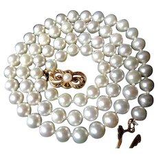 "Estate 19"" MIKIMOTO Cultured Pearl Necklace  18K Gold Clasp!"