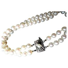 "Estate Mikimoto Cultured Pearl Double Strand Bracelet 7.2"" Long!"