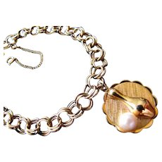 Vintage, Retro 12K Gold Filled Charm Bracelet with Bowling Charm