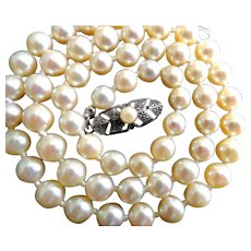 """Vintage Mikimoto Cultured Pearl Necklace! 16"""" Long; 6-5.5mm Pearls!"""
