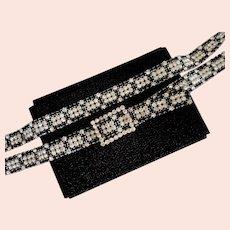 1940s Black & White Rhinestone Belt – 210 Prong Set Stones!