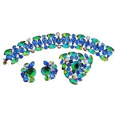 Vintage Kramer of NY Parure – Blue & Aqua Bracelet, Brooch & Earrings