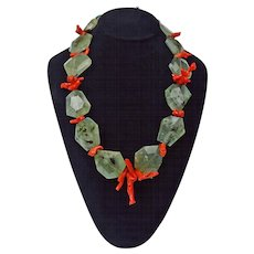 Unconditional Love Necklace: Prehnite and Natural Branch Coral, By Estrella