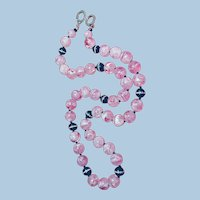 Designer Necklace with Les Bernard Pink Marbled Lucite Beads