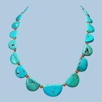 Natural Campitos Turquoise Half-Moon Necklace By Estrella