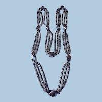 Long 3-strand Art Deco hematite necklace
