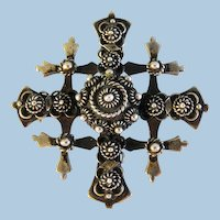 Vintage Taxco Ornate Mexican Jerusalem Cross Signed