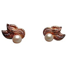 18k Gold Earrings with Diamonds and Pearls