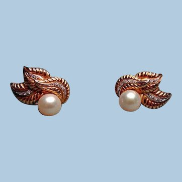 18k Gold Earrings with Diamonds and salt Pearls