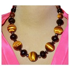 Necklace Large AAA+ Tiger Eye Beads By Estrella