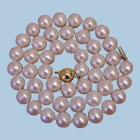 10mm Freshwater Pearl Necklace 18k Gold Clasp
