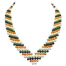 Art Deco Two-Toned Coral and Jade Woven Necklace