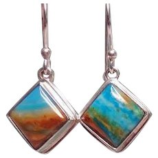 Scenic Peruvian Opal and Silver Earrings