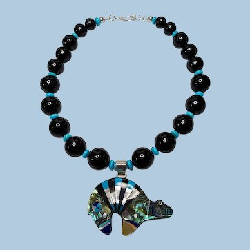 Zuni Bear Pendant Necklace By Estrella