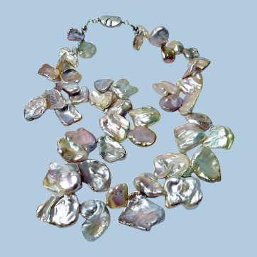 Lustrous Large Keishi Pearl Petal and 14KWG Necklace By Estrella