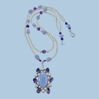 Long Lariat Necklace By Estrella, Chalcedony, Amethyst and Pearls