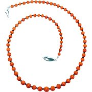 Old Mediterranean Natural Oxblood Red Natural Coral Necklace By Estrella
