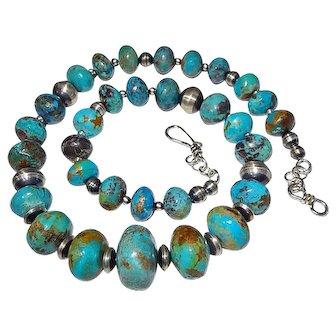 Large Natural Arizona Turquoise Necklace By Estrella