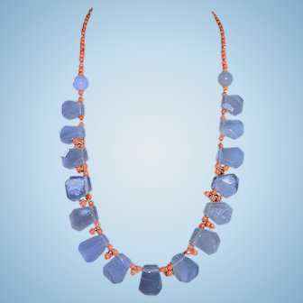 Natural Coral and Faceted Chalcedony Briolettes Necklace By Estrella