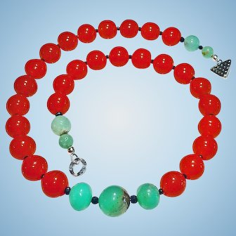 Antique Carnelian Czech Glass Beads and Chrysoprase Necklace By Estrella