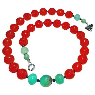 Czech Antique Carnelian Glass Beads and Chrysoprase Necklace By Estrella