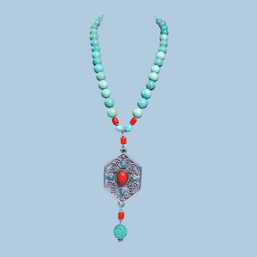Old Chinese Folk Pendant With Coral Cabochon: Turquoise Necklace By Estrella