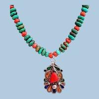 Carico Lake Turquoise and Mediterranean coral necklace By Estrella w/ Berber pendant