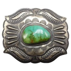 Vintage Navajo Hand Stamped and Repousse Sterling Silver Turquoise Belt Buckle