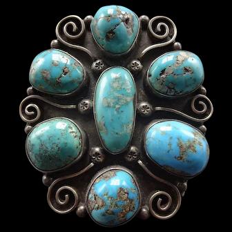 Huge Vintage George Kee Navajo Sterling and Turquoise Cluster Cuff Bracelet 135g