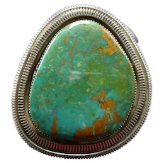 Huge Vintage Navajo Sterling Silver and ROYSTON Turquoise Cuff BRACELET 124g