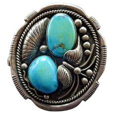 SIGNED Vintage Navajo Sterling Silver Easter Blue Turquoise Cuff BRACELET 74g