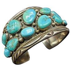 Vintage Navajo Chisel Stamped Sterling Silver Turquoise Cluster Cuff BRACELET