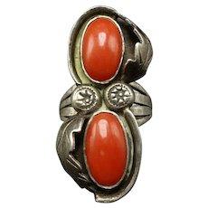 ELEGANT Vintage Navajo Sterling Silver Old Red MEDITERRANEAN Coral Ring size 6.5