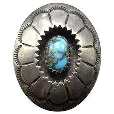 Vintage Navajo Hand Stamped SterlingSilver ShadowBox Bisbee TURQUOISE Ring sz 10