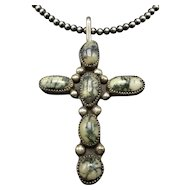 """NEW LANDER Turquoise Sterling Silver Cross Pendant + 20"""" Strand of NAVAJO Pearls"""