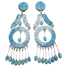 """4.5"""" Long FEDERICO JIMENEZ Sterling Silver Turquoise Inlay EARRINGS Clip-On"""