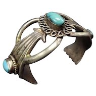 Vintage Navajo Sand Cast Sterling Silver & Light Blue TURQUOISE Cuff Bracelet
