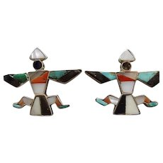 Old Zuni Knifewing Inlay Earrings Sterling Silver TURQUOISE Jet Coral MOP