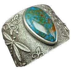 Darryl and Rebecca BEGAY Tufa Sterling Silver CANDELARIA Turquoise Cuff Bracelet