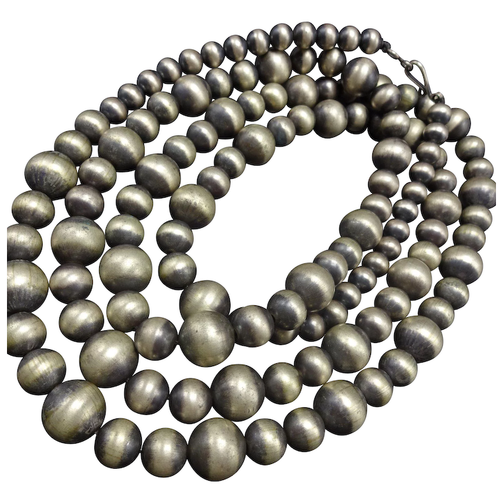 fc9fec334bc3b Extra Long 62 Single Strand of NAVAJO PEARLS Sterling Silver NECKLACE 231g