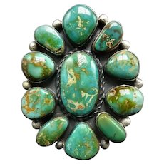 HUGE Gorgeous Navajo Sterling Silver & ROYSTON Turquoise Cluster RING, sz 9, 27g