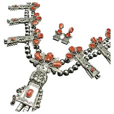 Red-Carpet Navajo 925 Silver Coral Kachina SQUASH BLOSSOM Necklace Earrings SET