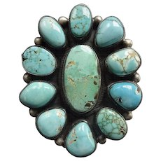 HUGE Signed NAVAJO Sterling Silver & Turquoise Cluster RING, size 9, 33.4g