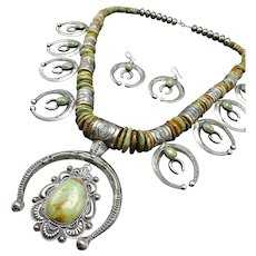 Navajo Sterling Silver Double Naja Green Royston Turquoise Necklace EARRING Set