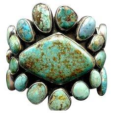 Huge Heavy FEDERICO JIMENEZ Sterling Silver Turquoise Cluster Cuff Bracelet 142g